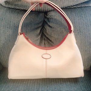 Vintage Praerie leather shoulder handbag white red
